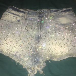VS Pink rhinestone high waisted shorts